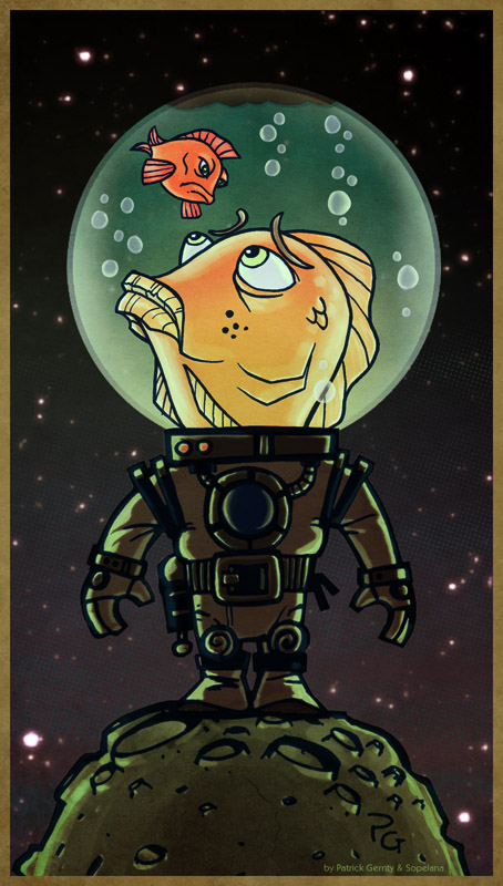 Fishy Astronauts on a little moon
